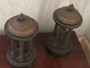 Lot 003 Pair of White Metal Grand Tour Rotunda Sculptures 10H x 5W PICK UP IN RVC