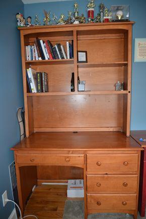 Lot 015 4 Drawer Desk w/3 Shelf Unit 80H x 49W x24L approx. PICK UP IN MALVERNE,NY