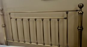 Lot 035 Silver Toned Metal  Headboard  56.75H x 62W PICK UP IN EASTPORT,NY