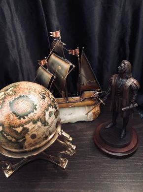 Lot 089 Lot of Christopher Columbus Decorative items including Globe, Figurine, Ship and medallion PICK UP IN NORTH MASSAPEQUA