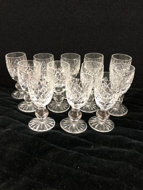 Lot 164 Set of 12 Waterford Cordial glass Donegal Pattern