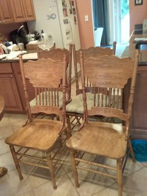Lot 038 Lot of 4 Wood Carved Kitchen Chairs 40H x 18W x 17L PICK UP IN COMMACK