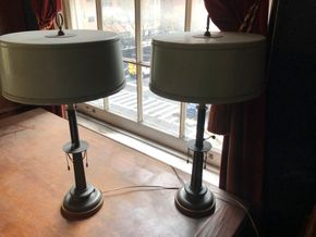 Lot 063 Pair of Early 20thC Green Candlestick Lamps w/Metal Shades