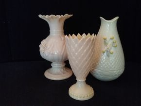 Lot 068 Lot of 3 Belleek Vases 6 7 and 7.5 Inches Tall PICK UP IN ROCKVILLE CENTRE