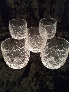 Lot 013 Lot Of 5 Waterford Rocks Glasses 3.75 Inches Tall PICK UP IN GARDEN CITY