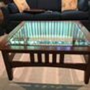Lot 043 Glass Coffee Table AS IS 17Hx38W Square Shape. CAN BE PICKED UP IN GARDEN CITY.