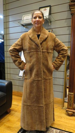 Lot 003 Light Brown Sheared Plucked Mink Coat Size 12 Length 52in Sleeve 30in Sweep 56in Style 2686 - - Item Num: 7314-3