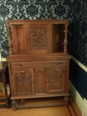 Lot 004 Hand Carved Oak Bar Cabinet 60.25H 18W x 40L  PICK UP IN ROCKVILLE CENTRE