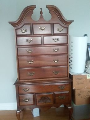 Lot 045 American Drew Cherry 7 Drawer Chest 76H x 19W x 37.5L PICK UP IN GARDEN CITY