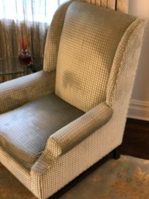 Lot 017 Custom Made Chair in Pollack Silk and Velvet Upholstered Material Citca 2008 41H x 26W PICK UP IN NEW HAVEN, CT