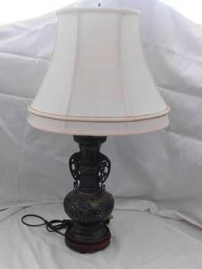 Lot 010 Antique Bronze Lamp 27H x 5.25W PICK UP IN CENTERPORT