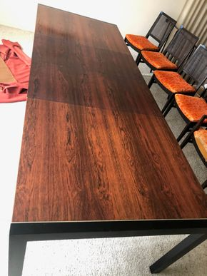 Lot 012 PU Mid Century Modern Dining Table 9 Feet Long with 2 Leaves PICK UP IN RVC