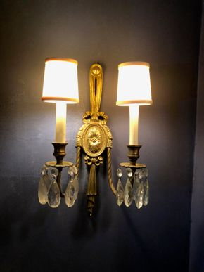 Lot 006 Pair of Brass Electrified Sconces 16H x 10w