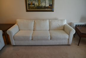 Lot 015 Bauhaus Upholstered Couch 27.5H x 84W x 36.5L PICK UP IN GLEN COVE, NY