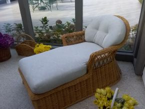 Lot 085 Rattan Chaise Lounge 32H x 60W x 52L PICK UP IN OLD BROOKVILLE