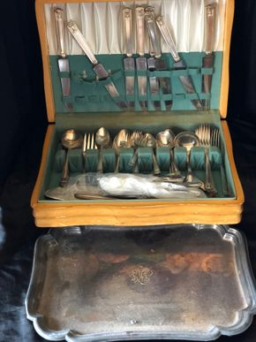 Lot 014 Stainless Silver-Plate Flatware Service and silver-plate tray ITEMS MUST BE PICKED UP IN LONG BEACH