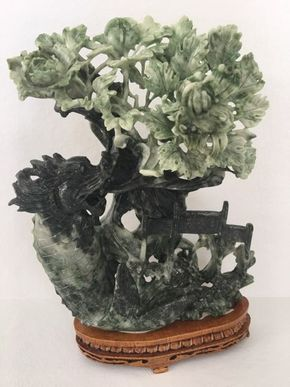 Lot 087 Chinese Hardstone Carving 12.5in Tall on Base  ITEMS TO BE PICKED UP IN MANHASSET HILLS