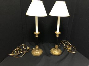 Lot 077 Lot Of Two French Bronze/Brass Candlestick Lamps.  20.5 Inches H. PICK UP IN FLUSHING.