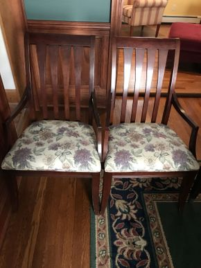 Lot 015 Lot of 2 Ethan Allen Cherrywood Arm Chairs    ITEM CAN BE PICKED UP IN ROCKVILLE CENTRE