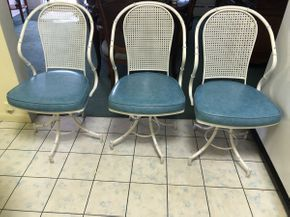 Lot 078 Lot Of Three Faux Bamboo Chairs 35.5 Inches H X 18.5 W X 18.5 L. PICK UP IN FLUSHING.