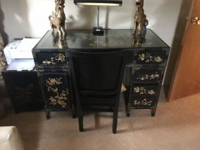 Lot 037 Asian Motif Desk 48x33x24 and Chair 18x17x36 with Gold Leaf ITEMS TO BE PICKED UP IN OCEANSIDE