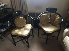 Lot 038 Lot of 2 Asian Motif Telephone Chair with Gold Seat Cushion 27x23x24 ITEMS TO BE PICKED UP IN OCEANSIDE