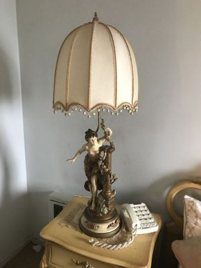 Lot 042 Lot of 2 Victorian Ceramic Lamps with Shades 46in Tall ITEMS TO BE PICKED UP IN OCEANSIDE