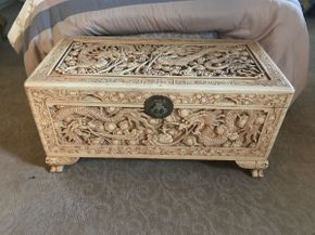 Lot 043 Asian Wood Carved Chest 36x18x17 ITEMS TO BE PICKED UP IN OCEANSIDE
