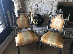 Lot 047 Lot of 2 Carved Asian  Chairs with Mother of Pearl Inlaid 21x18x41.5 ITEMS TO BE PICKED UP IN OCEANSIDE
