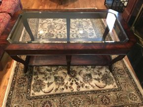 Lot 024 Ethan Allen Wood and Glass Top Coffee Table   ITEM CAN BE PICKED UP IN ROCKVILLE CENTRE