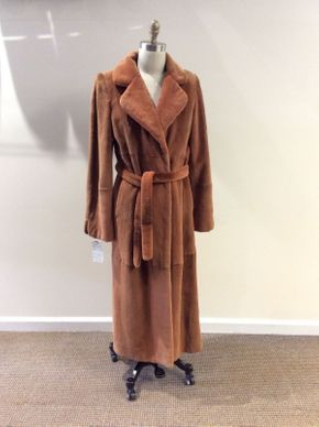 Lot 002 Dyed Bronze Double Sheared Beaver w/ Belt Size 10 Length 51in Sleeve 31in Sweep 52in Style 2420