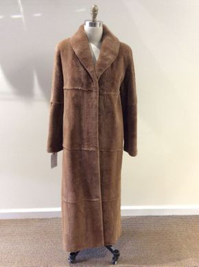 Lot 003 Light Brown Sheared Plucked Mink Coat Size 12 Length 52in Sleeve 30in Sweep 56in Style 2686