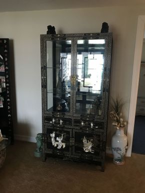Lot 049 Asian China Cabinet 2 Glass Shelves and 2 Doors 36x72x18 ITEMS TO BE PICKED UP IN OCEANSIDE