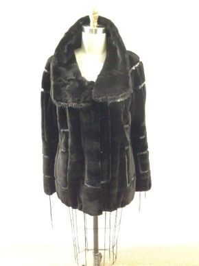 Lot 004 Black Sheared Mink Size 12 Length 28in Sleeve 30in Sweep 62in Style 3397