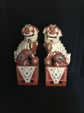 Lot 053 Pair of Foo Dogs 17in Tall ITEMS TO BE PICKED UP IN OCEANSIDE