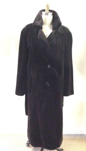 Lot 005 Black Sheared Mink Coat Size 14 Length 48in Sleeve 30in Sweep 74in Style 2224