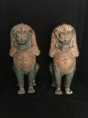 Lot 058 Lot of 2 Asian Metal Dragons 17in Tall ITEMS TO BE PICKED UP IN OCEANSIDE