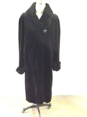 Lot 007 Black Sheared Mink coat Size 14 Length 45in Sleeve 30in Sweep 64in Style 2671