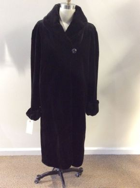 Lot 006 Black Sheared Mink Coat 45 inch Sleeve Size 14 30 inch sweep Style 2671