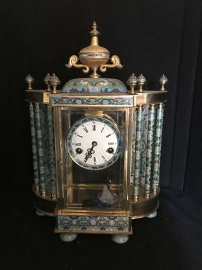 Lot 059 Chinese Cloisonne Clock 19x15 ITEMS TO BE PICKED UP IN OCEANSIDE