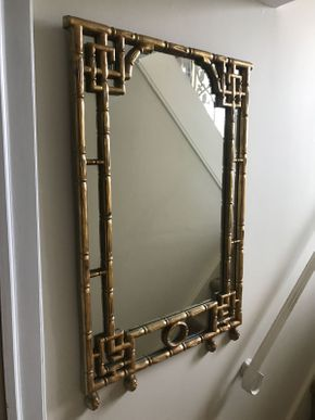 Lot 062 Faux Bamboo Wood Mirror 25.5x37.5 ITEMS TO BE PICKED UP IN OCEANSIDE