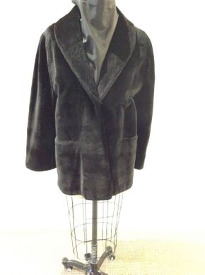 Lot 012 Black Sheared Mink Horizontal Jacket Size 12 Length 30in Sleeve 28in Sweep 60in Style 2555