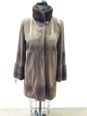 Lot 014 Brown Super Sheared Mink w/Long Hair Mink Cuffs/Collar and Patterned Lining Size 10 Length 36in Sleeve 30in Sweep 52in Style 3256