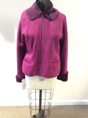 Lot 018 Burgandy Shearling Jacket Size 10 24in Sleeve32in Sweep 42in Style  3406