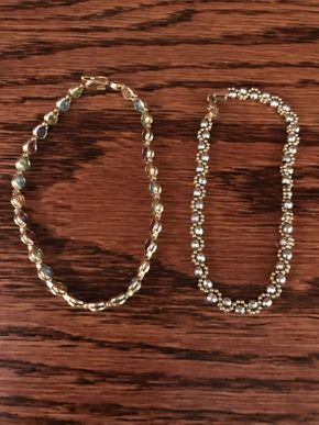 Lot 046 Lot of 2 14k GoldBracelets with Multi Colored Stones ITEM CAN BE PICKED UP IN ROCKVILLE CENTRE