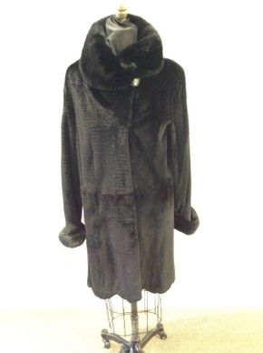 Lot 026 Black Sheared Mink with Long Hair Cuffs/Collar, Small Horizontal Grooving Size Med Length 36in Sleeve 30in Sweep 52in Style  3277