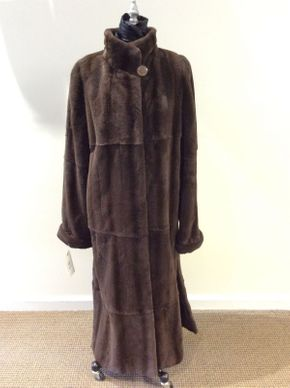 Lot 027 Chocolate Plucked Mink Coat w/Taffeta Lining Size 12 51in Sleeve 32in Sweep 64in Taffeta Lining Cuff Sleeves Style 2479