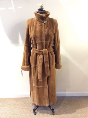 Lot 028 Whiskey Plucked Mink Coat with Belt Decorative Collar Button with Flower Design Size 12 Length 51in Sleeve 32in Sweep 64in Style 2479