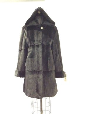Lot 030 Black Sheared Mink  Reversible to Leather Size 6 Length 36 inches Sleeve 32 inches Sweep 48 inches Style 2168