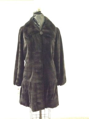Lot 036 Brown Super Sheared Horizontal Mink w/Long Hair Collar Size 12 Length 36 inches Sleeve 30 inches Sweep 74 inches Style 3442